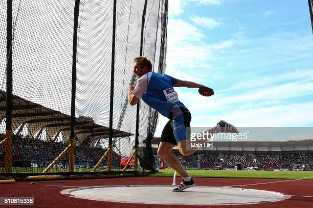 Christoph Harting competes at men's discus throw Final at day 1 of the German Championships in Athletics at Steigerwaldstadion on July 8 2017 in...