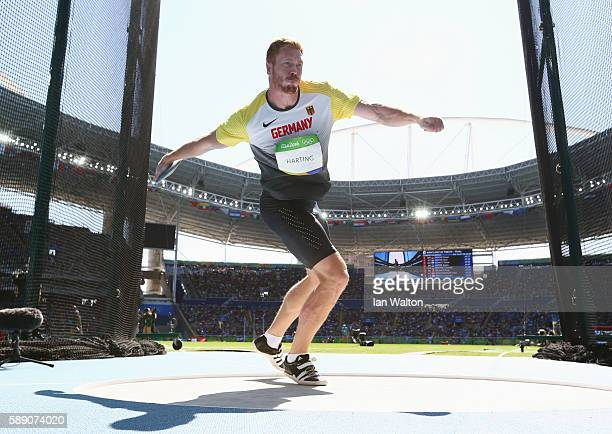 Christoph Harting of Germany competes in the Men's Discus Throw Finalon Day 8 of the Rio 2016 Olympic Games at the Olympic Stadium on August 13 2016...