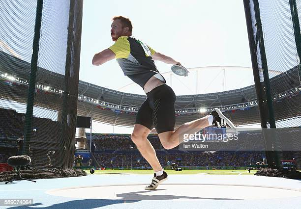 Christoph Harting of Germany competes in the Men's Discus Throw Final on Day 8 of the Rio 2016 Olympic Games at the Olympic Stadium on August 13 2016...