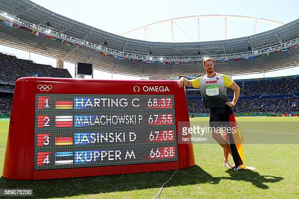 Christoph Harting of Germany wins the Men's Discus Throw Final on Day 8 of the Rio 2016 Olympic Games at the Olympic Stadium on August 13 2016 in Rio...