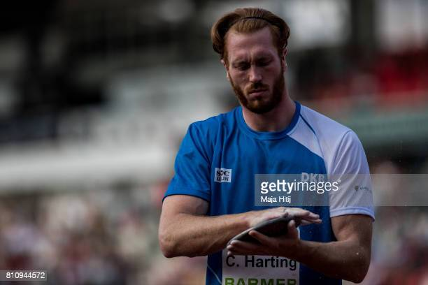 Christoph Harting prepares during men's discus throw Final at day 1 of the German Championships in Athletics at Steigerwaldstadion on July 8 2017 in...
