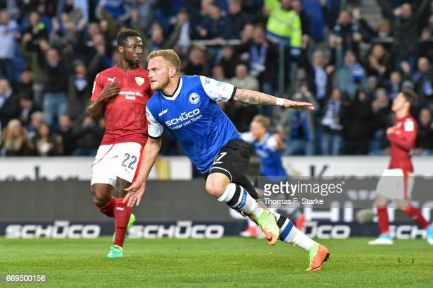 Christoph Hemlein of Bielefeld celebrates his teams first goal during the Second Bundesliga match between DSC Arminia Bielefeld and VfB Stuttgart at...