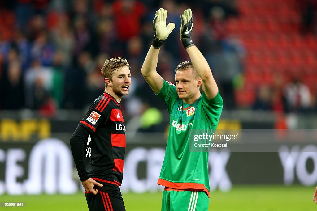 <a gi-track='captionPersonalityLinkClicked' href=/galleries/search?phrase=Christoph+Kramer&family=editorial&specificpeople=5588926 ng-click='$event.stopPropagation()'>Christoph Kramer</a> and <a gi-track='captionPersonalityLinkClicked' href=/galleries/search?phrase=Bernd+Leno&family=editorial&specificpeople=5528639 ng-click='$event.stopPropagation()'>Bernd Leno</a> of Leverkusen celebrate after the Bundesliga match between Bayer Leverkusen and Hertha BSC Berlin at BayArena on April 30, 2016 in Leverkusen, Germany. The match between Leverkusen and Belrin ended 2-1.