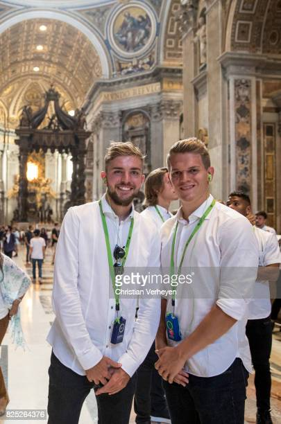 Christoph Kramer and Matthias Ginter at the St Peter Cathedral during the Team of Borussia Moenchengladbach visit Vatican City on August 01 2017 in...