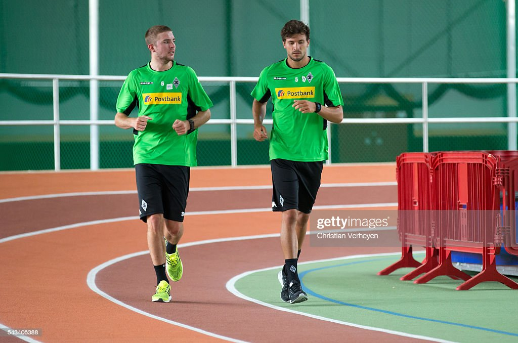 Christoph Kramer and Tobias Strobl of Borussia Moenchengladbach run during a Lactate Test in Duesseldorf on June 28, 2016 in Moenchengladbach, Germany.