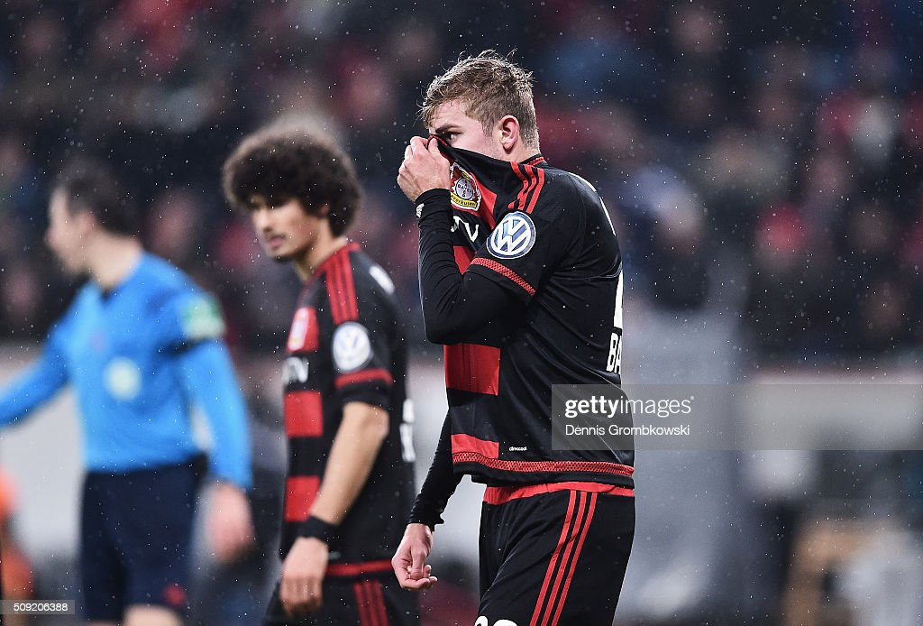 <a gi-track='captionPersonalityLinkClicked' href=/galleries/search?phrase=Christoph+Kramer&family=editorial&specificpeople=5588926 ng-click='$event.stopPropagation()'>Christoph Kramer</a> of Bayer Leverkusen reacts during the DFB Cup Quarter Final match between Bayer Leverkusen and Werder Bremen at BayArena on February 9, 2016 in Leverkusen, Germany.