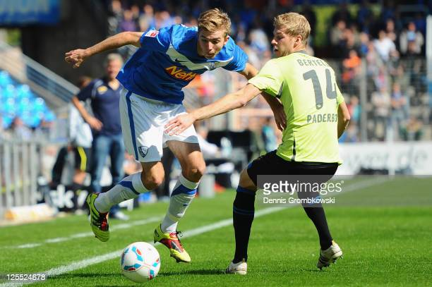 Christoph Kramer of Bochum and Thomas Bertels of Paderborn battle for the ball during the Second Bundesliga match between VfL Bochum and SC Paderborn...