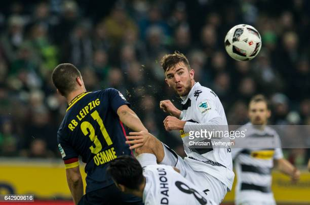 Christoph Kramer of Borussia Moenchengladbach and Diego Demme of RB Leipzig battle for the ball during the Bundesliga Match between Borussia...