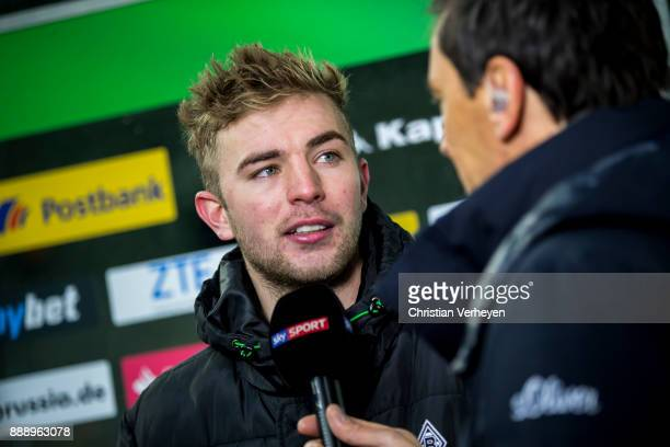 Christoph Kramer of Borussia Moenchengladbach gives an interview after the Bundesliga match between Borussia Moenchengladbach and FC Schalke 04 at...
