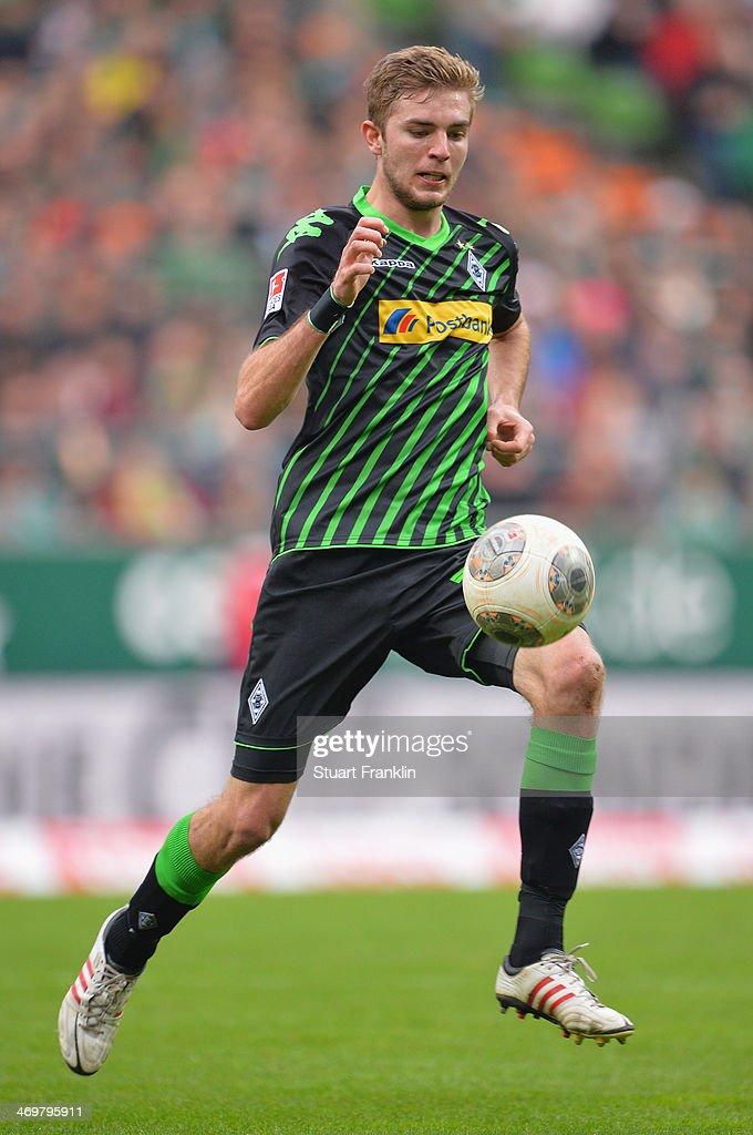 Christoph Kramer of Gladbach in action during the Bundesliga match between Werder Bremen and Borussia Moenchengladbach at Weserstadion on February 15, 2014 in Bremen, Germany.