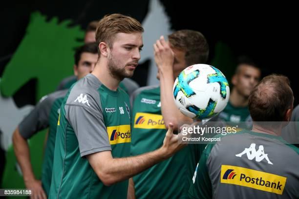 Christoph Kramer of Mnchengladbach juggles with the ball prior to the Bundesliga match between Borussia Moenchengladbach and 1 FC Koeln at...
