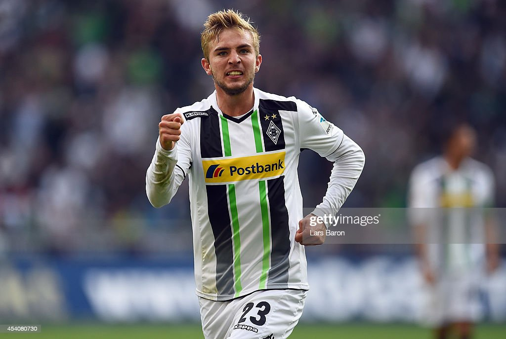 <a gi-track='captionPersonalityLinkClicked' href=/galleries/search?phrase=Christoph+Kramer&family=editorial&specificpeople=5588926 ng-click='$event.stopPropagation()'>Christoph Kramer</a> of Moenchengladbach celebrates after scoring his teams first goal during the Bundesliga match between Borussia Moenchengladbach and VfB Stuttgart at Borussia Park Stadium on August 24, 2014 in Moenchengladbach, Germany.