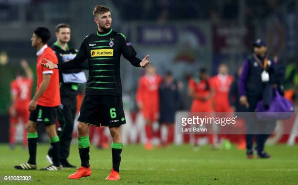 Christoph Kramer of Moenchengladbach looks dejected after loosing the UEFA Europa League Round of 32 first leg match between Borussia...