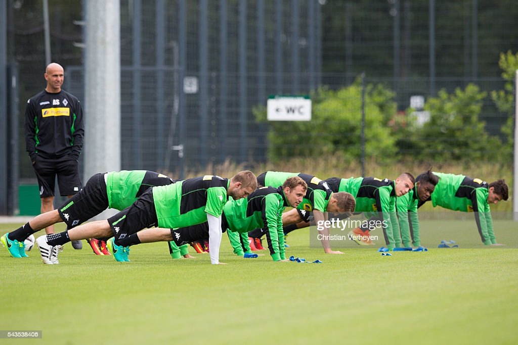 Christoph Kramer, Tony Jantschke, Patrick Herrmann and Laszlo Benes of Borussia Moenchengladbach during a training session at Borussia-Park on June 29, 2016 in Moenchengladbach, Germany.