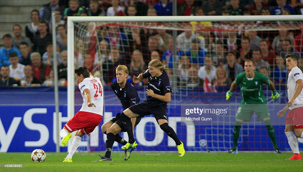 <a gi-track='captionPersonalityLinkClicked' href=/galleries/search?phrase=Christoph+Leitgeb&family=editorial&specificpeople=2706845 ng-click='$event.stopPropagation()'>Christoph Leitgeb</a> of FC Salzburg takes a shot at goal during the UEFA Champions League qualifying play-off at the Red Bull Arena , on August 19, 2014 in Salzburg, Austria.