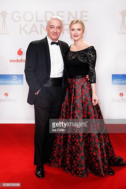 Christoph M Ohrt and actress Dana Golombek attend the Goldene Kamera 2016 on February 6 2016 in Hamburg Germany