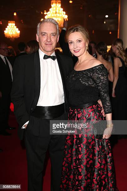 Christoph M Ohrt and actress Dana Golombek during the Goldene Kamera 2016 reception on February 6 2016 in Hamburg Germany