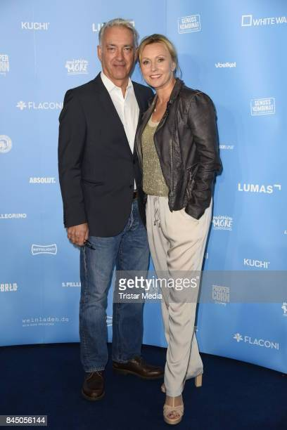 Christoph M Ohrt and his girlfriend Dana Golombek attend the 'Gabo Fame presented by Lumas' Exhibition Opening at HumboldtBox on September 9 2017 in...