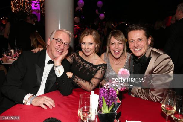 Christoph M Ohrt and his girlfriend Dana Golombek Roman Knizka and his wife Stefanie Mensing during the Goldene Kamera after show party at Messe...
