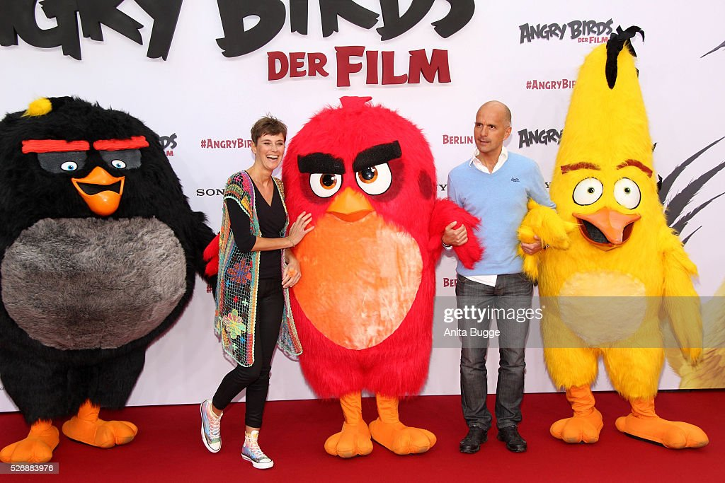 Christoph Maria Herbst and his wife Gisi Herbst attend the Berlin premiere of the film 'Angry Birds - Der Film' at CineStar on May 1, 2016 in Berlin, Germany.