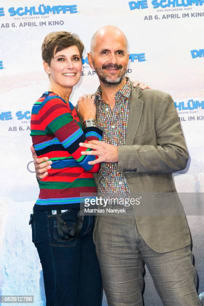 Christoph Maria Herbst and his wife Gisi Herbst attend the 'Die Schluempfe Das verlorene Dorf' Berlin Premiere at Sony Centre on April 2 2017 in...