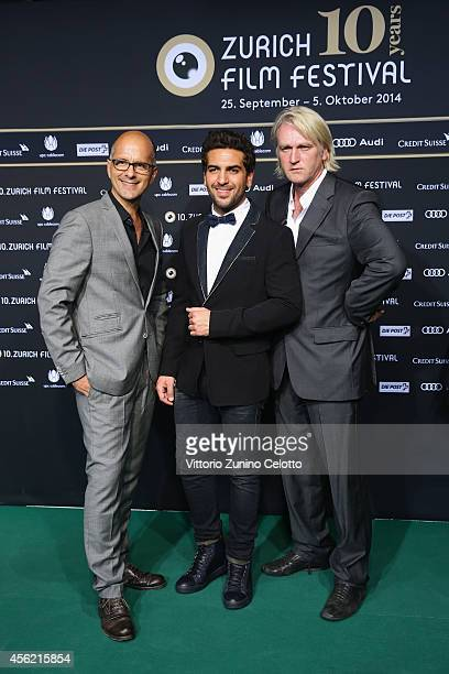 Christoph Maria Herbst Elyas M'Barek and Detlev Buck attend the 'Maennerhort' Green Carpet Arrivals during Day 3 of Zurich Film Festival 2014 on...