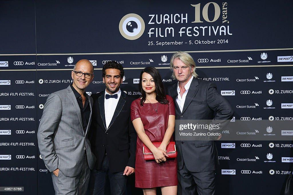 Christoph Maria Herbst Elyas M'Barek Cosma Shiva Hagen and Detlev Buck attend the 'Maennerhort' Green Carpet Arrivals during Day 3 of Zurich Film...