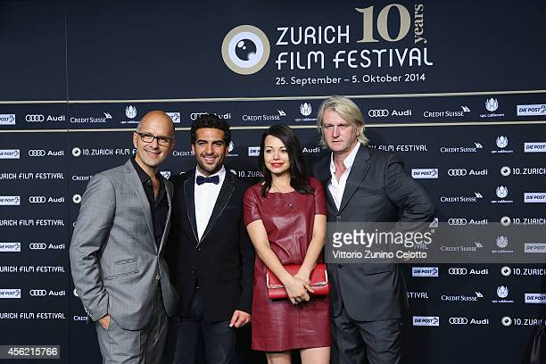 Christoph Maria Herbst Elyas M'Barek Cosma Shiva Hagen and Detlev Buck attend the 'Maennerhort' Green Carpet Arrivals during Day 3 of Zurich Film...