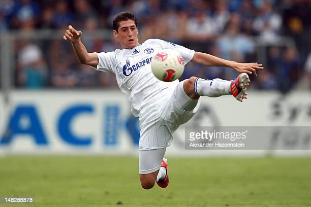 Christoph Moritz of Schalke battles for the ball during the friendly pre season match between SG Sonnenhof Grossaspach and Schalke 04 at comtech...