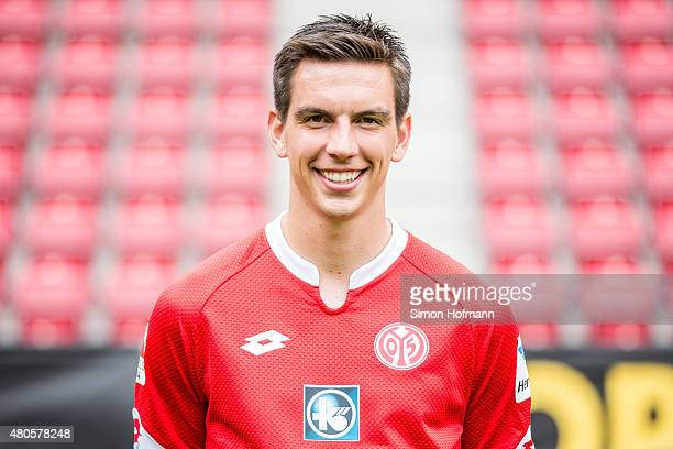 Christoph Moritz poses during the 1 FSV Mainz 05 Team Presentation at Coface Arena on July 12 2015 in Mainz Germany