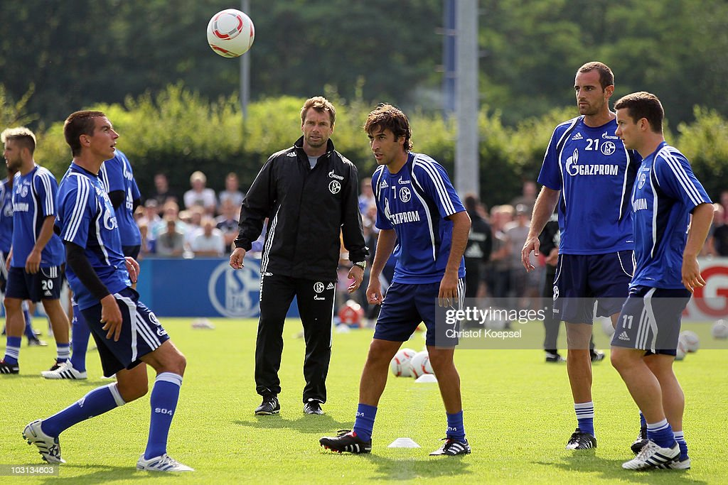 Christoph Moritz Raul Gonzalez Christoph Metzelder and Alexander Baumjohann play during the FC Schalke training session at the training ground on...