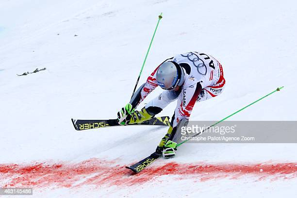 Christoph Noesig of Team Austria wins a gold medal during the FIS Alpine World Ski Championships Nations Team Event on February 10 2015 in Beaver...