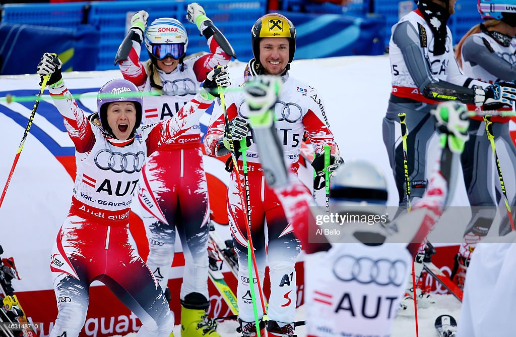Christoph Noesig returns to his teammates, Michaela Kirchgasser, Eva-Maria Brem, and Marcel Hirscher of Austria to celebrate winning the gold medal during the Nations Team Event at Golden Peak Stadium on Day 9 of the 2015 FIS Alpine World Ski Championships on February 10, 2015 in Vail, Colorado.