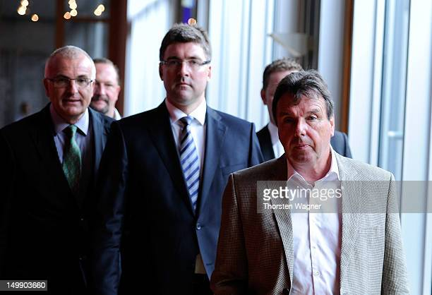 Christoph Schickhardt Axel Hellmann and Heribert Bruchhagen the delegation of Frankfurt looks on prior to the DFB federal court appellate proceeding...
