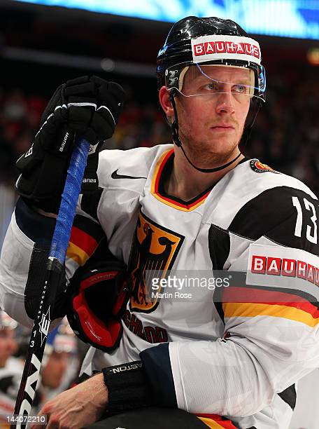 Christoph Schubert of Germany looks dejected during the IIHF World Championship group S match between Sweden and Germany at Ericsson Globe on May 9...