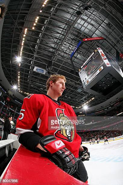Christoph Schubert of the Ottawa Senators rests against the boards during warmups prior to a game against the Philadelphia Flyers at Scotiabank Place...