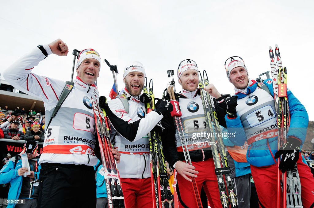 <a gi-track='captionPersonalityLinkClicked' href=/galleries/search?phrase=Christoph+Sumann&family=editorial&specificpeople=732936 ng-click='$event.stopPropagation()'>Christoph Sumann</a>, <a gi-track='captionPersonalityLinkClicked' href=/galleries/search?phrase=Daniel+Mesotitsch&family=editorial&specificpeople=821325 ng-click='$event.stopPropagation()'>Daniel Mesotitsch</a>, <a gi-track='captionPersonalityLinkClicked' href=/galleries/search?phrase=Simon+Eder&family=editorial&specificpeople=4077833 ng-click='$event.stopPropagation()'>Simon Eder</a> and <a gi-track='captionPersonalityLinkClicked' href=/galleries/search?phrase=Dominik+Landertinger&family=editorial&specificpeople=4698843 ng-click='$event.stopPropagation()'>Dominik Landertinger</a> of Austria overtakes Simon Schempp of Germany to win the men's 4x7.5km relay on day two of the E.On IBU World Cup Biathlonon January 9, 2014 in Ruhpolding, Germany.