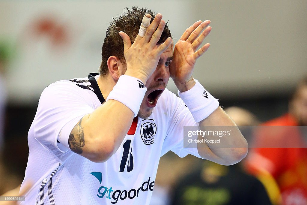 Christoph Theuerkauf of Germany shows his frustration during the quarterfinal match between Spain and Germany at Pabellon Principe Felipe Arena on January 23, 2013 in Barcelona, Spain.