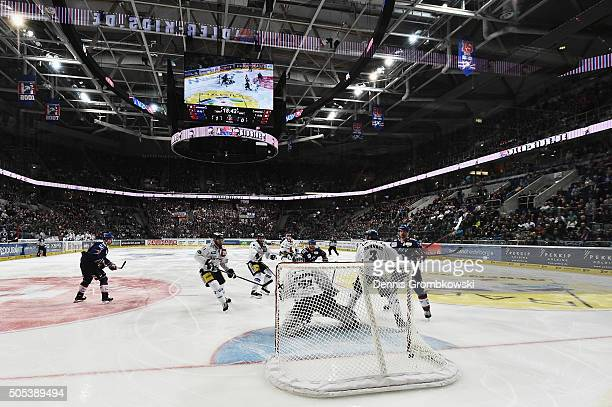 Christoph Ullmann of Adler Mannheim scores the second goal during the Ice Hockey DEL match between Adler Mannheim and Eisbaeren Berlin at SAP Arena...