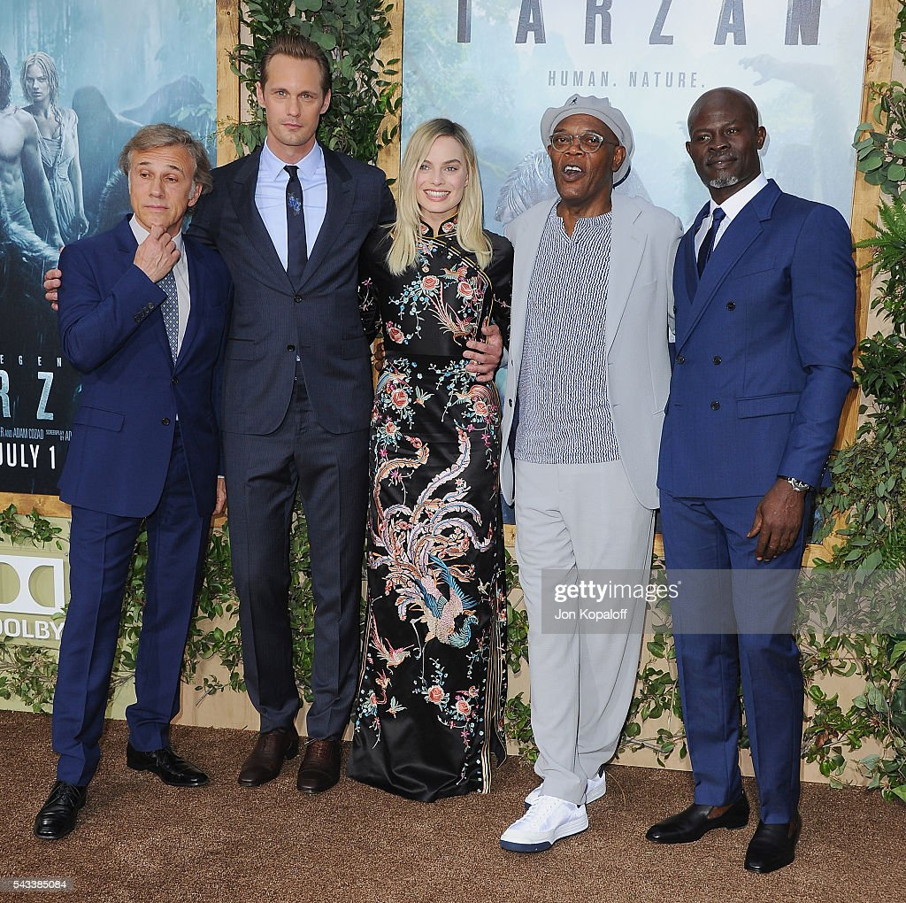 Christoph Waltz, Alexander Skarsgard, Margot Robbie, Samuel L. Jackson and Djimon Hounsou arrive at the Los Angeles Premiere 'The Legend Of Tarzan' at TCL Chinese Theatre on June 27, 2016 in Hollywood, California.
