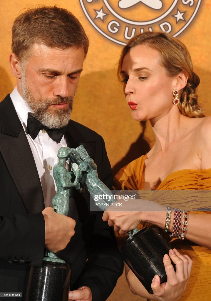 <a gi-track='captionPersonalityLinkClicked' href=/galleries/search?phrase=Christoph+Waltz&family=editorial&specificpeople=4276914 ng-click='$event.stopPropagation()'>Christoph Waltz</a> and <a gi-track='captionPersonalityLinkClicked' href=/galleries/search?phrase=Diane+Kruger&family=editorial&specificpeople=202640 ng-click='$event.stopPropagation()'>Diane Kruger</a> pose with their trophies for Outstanding Performance by a Cast in a Motion Picture in 'Inglorious Basterds' at the 16th annual Screen Actors Guild Awards (SAG) at the Shrine Exposition Center in Los Angeles January 23, 2010.