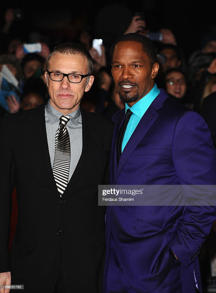 <a gi-track='captionPersonalityLinkClicked' href=/galleries/search?phrase=Christoph+Waltz&family=editorial&specificpeople=4276914 ng-click='$event.stopPropagation()'>Christoph Waltz</a> and <a gi-track='captionPersonalityLinkClicked' href=/galleries/search?phrase=Jamie+Foxx&family=editorial&specificpeople=201715 ng-click='$event.stopPropagation()'>Jamie Foxx</a> attend the UK Premiere of 'Django Unchained' at Empire Leicester Square on January 10, 2013 in London, England.