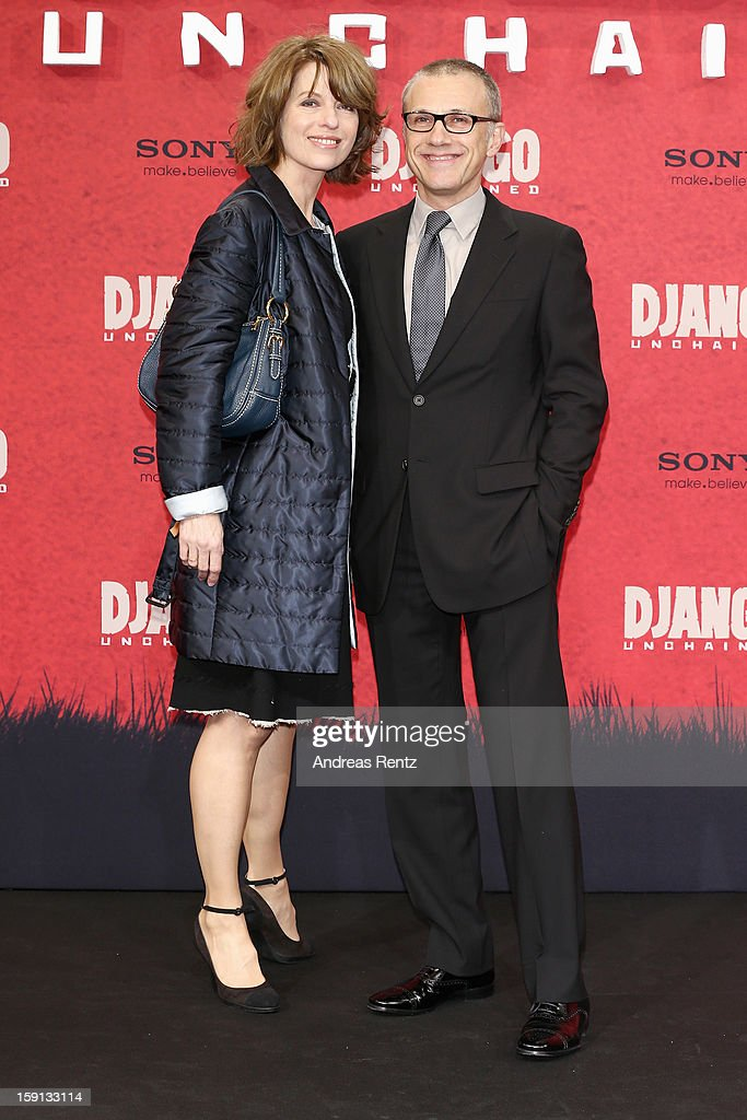 <a gi-track='captionPersonalityLinkClicked' href=/galleries/search?phrase=Christoph+Waltz&family=editorial&specificpeople=4276914 ng-click='$event.stopPropagation()'>Christoph Waltz</a> and Judith Holste attend 'Django Unchained' Berlin Premiere at Cinestar Potsdamer Platz on January 8, 2013 in Berlin, Germany.