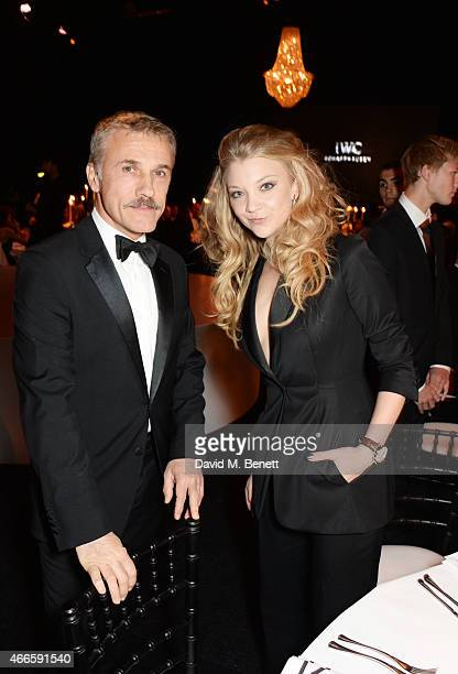 Christoph Waltz and Natalie Dormer attend the BFI London Film Festival IWC Gala Dinner in honour of the BFI at Battersea Evolution Marquee on October...