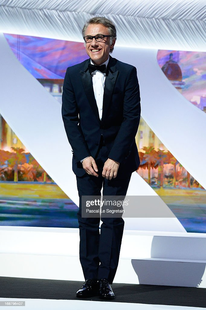 <a gi-track='captionPersonalityLinkClicked' href=/galleries/search?phrase=Christoph+Waltz&family=editorial&specificpeople=4276914 ng-click='$event.stopPropagation()'>Christoph Waltz</a> appears on stage during the Opening Ceremony of the 66th Annual Cannes Film Festival at the Palais des Festivals on May 15, 2013 in Cannes, France.