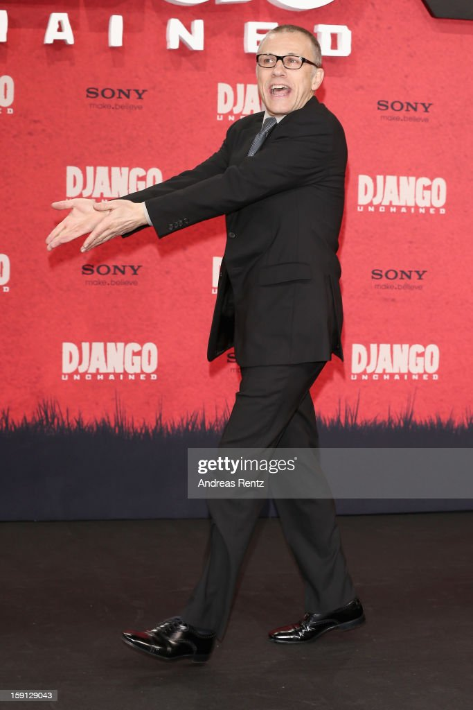 <a gi-track='captionPersonalityLinkClicked' href=/galleries/search?phrase=Christoph+Waltz&family=editorial&specificpeople=4276914 ng-click='$event.stopPropagation()'>Christoph Waltz</a> attends 'Django Unchained' Berlin Premiere at Cinestar Potsdamer Platz on January 8, 2013 in Berlin, Germany.