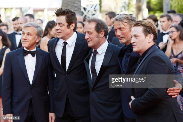 Christoph Waltz Benicio del ToroVincent Lindon Mads Mikkelsen and Benoit Magimel attend the 70th Anniversary of the 70th annual Cannes Film Festival...