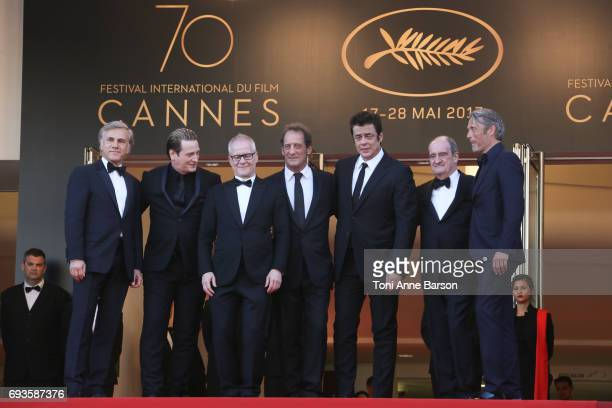 Christoph Waltz Benoit Magimel Thierry Frenaux Vincent Lindon Benicio del Toro Pierre Lescure and Mads Mikkelsen attend the 70th anniversary event...