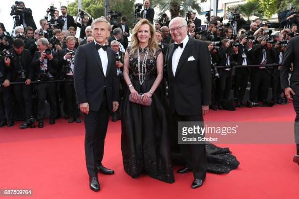 Christoph Waltz Caroline Scheufele and her father KarlFriedrich Scheufele attend the 70th Anniversary of the 70th annual Cannes Film Festival at...