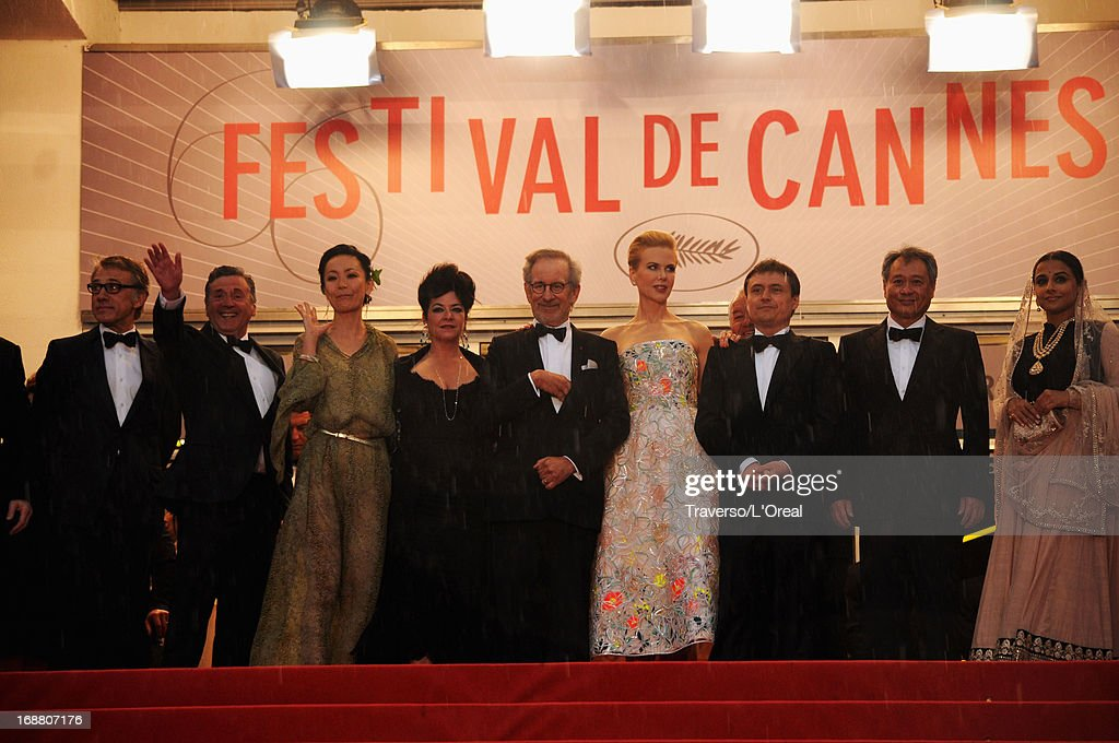 Christoph Waltz, Daniel Auteuil, Naomi Kawase, Lynne Ramsay, Steven Spielberg, Nicole Kidman, Cristian Mungiu, Ang Lee and Vidya Balan attend the Opening Ceremony and 'The Great Gatsby' Premiere during the 66th Annual Cannes Film Festival at the Theatre Lumiere on May 15, 2013 in Cannes, France.